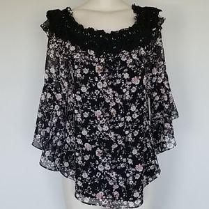 WHBM black floral blouse-XL